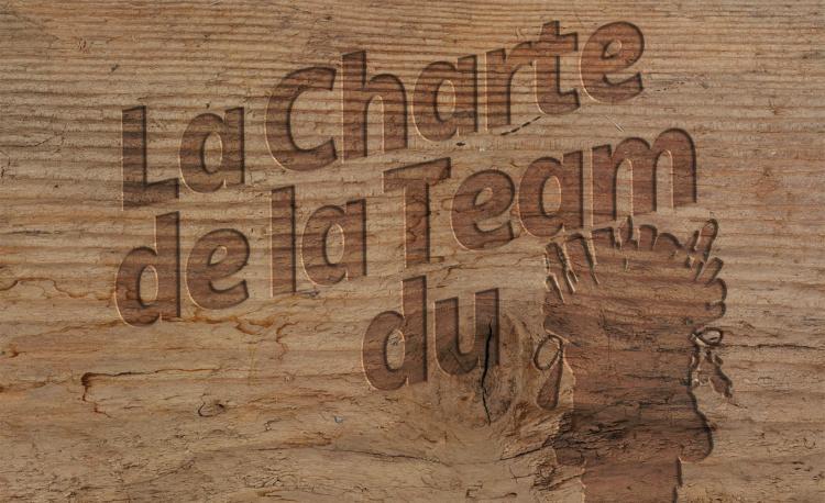 Titre de La Charte de La Team du Troll, gravé sur du bois